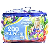 Sunny Days Entertainment 200 Count Colorful Play Balls – Phthalate and BPA Free Non-Toxic Crush Proof Plastic Ball Pack - Balls for Toddler Ball Pit in Reusable Storage Bag with Zipper