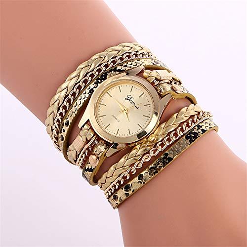 Reloj de pulsera para mujer, reloj de pulsera de cuarzo analógico con correa de cuero, reloj colgante trenzado vintage, reloj de abrigo para mujer, reloj pulsera con brazalete, reloj(oro)
