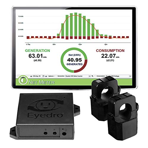Eyedro Home Solar & Energy Monitor - Track, React, Save Money - View Your Energy Usage in a Variety of Ways via My.Eyedro.com (No Fee) - Electricity Costs in Real Time - Net Metering - EYEFI-2 (WIFI)