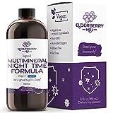 Elderberry Hill Organics Liquid Nighttime Multimineral for Natural Sleep & Stress Relief with Trace Minerals, Vegan Vitamins. Magnesium, Calcium & MSM, Non-GMO, No Melatonin 32oz