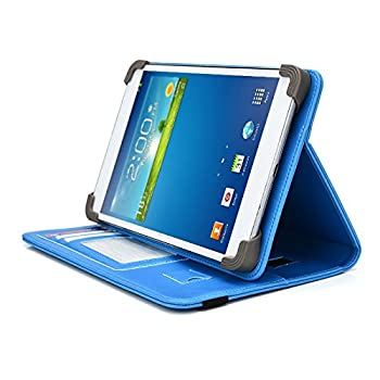 iNOVA EX756 7  Tablet Case UniGrip PRO Series - Light Blue - by Cush Cases  Case Features PU Leather with Bulit in Stand Hand Strap 3 Card Slots and SIM Card Holder