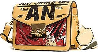 Adebie - Fashion New Printing Graffiti Summer Women Messenger Bag Female Handbag Designer Shoulder Crossbody Bags Casual Letter Small Bag Yellow []
