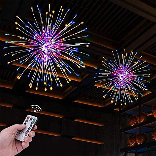 2Pack 120 LED Luces Fuegos Artificiales, 8 modos Luces de cuerda LED Starburst de alambre de cobre, luces de cuerda de hadas con batería con control remoto para Navidad, fiesta, interior, exterior