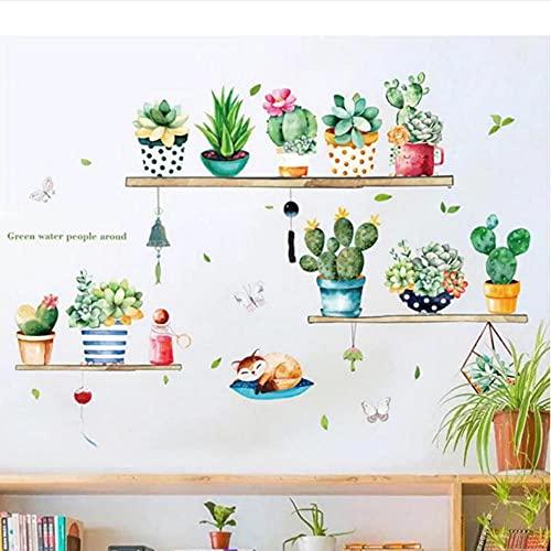 Wuixisajjh Nordic Ins Wind Cactus In Vaso Soggiorno Camera Da Letto Armadio Portico Tv Sfondo Adesivi Murali Autoadesivi