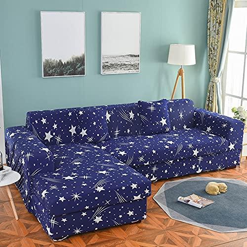 Juego de Fundas elásticas para sofá Fundas de sofá seccionales con Estampado de Hojas pastorales Decorativas Protector de sofá en Forma de L Abrigo Todo Incluido A1 1 Plaza
