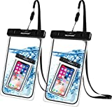 Newppon Large Waterproof Cell Phone Pouch :(2-Pack) IPX8 Universal Dry Bag for iPhone 12 11 Pro Max Xs XR X 8 7 6S Plus Samsung Galaxy S10 S9+ S8+ Note 8 6 5 Pixel 3 XL LG up to 7.5' with Slim Case