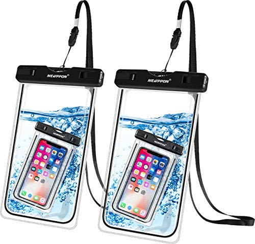 """Newppon Waterproof Cellphone Pouch Holder :(2-Pack) IPX8 Universal Dry Bag for iPhone 12 11 Pro Max Xs XR X 8 7 6S Plus Samsung Galaxy S10 S9+ S8+ Note 8 6 5 Pixel 3 XL LG up to 7.5"""" with Slim Case"""