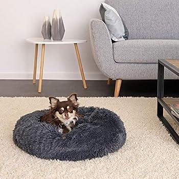 lionto by dibea Panier rond pour chien coussin pour chat panier donut Ø 50 cm (M) Gris foncé