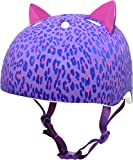 Krash Girls Bike Helmet, Purple Leopard Kitty
