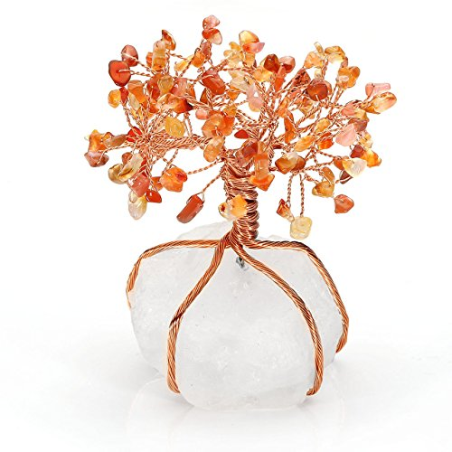Top Plaza Chakra Healing Crystals Red Agate Copper Tree of Life Wrapped On Natural Clear Quartz Crystal Base Money Tree Feng Shui Luck Figurine Decoration