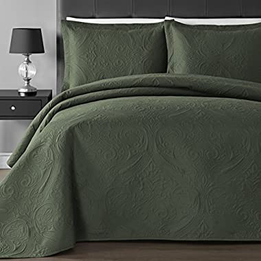 Comfy Bedding Extra Lightweight and Oversized Thermal Pressing Floral 3-piece Coverlet Set (King/Cal King, Sage)