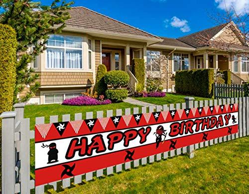 Large Ninja Happy Birthday Banner, Ninja Warrior Birthday Party Decorations, Samurai Birthday Party Decorations (9.8 x 1.5 feet)