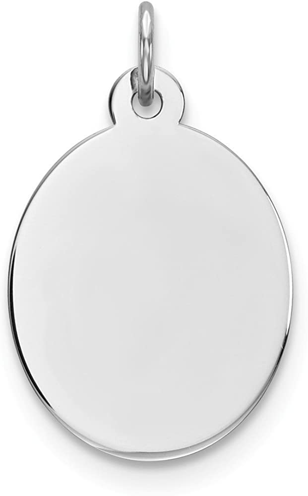 Solid unisex 925 Sterling Silver Eng. Oval Charm lowest price Front Polish Back Disc