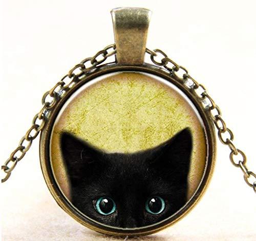Yowablo Anhänger Kette Halskette Steampunk Mystery Cat Retro Cabochon Glas (Mehrfarbig)