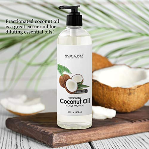 Majestic Pure Fractionated Coconut Oil, For Aromatherapy Relaxing Massage, Carrier Oil for Diluting Essential Oils, Hair & Skin Care Benefits, Moisturizer & Softener - 16 Ounces (Packaging May Vary)