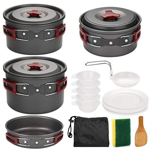 Odoland Multi-PCS Kit de Casseroles Camping Poêlé en Aluminium Durable et Compact - Poêle +Casseroles +Assiettes +Bols Ustensiles de Cuisine pour Camping