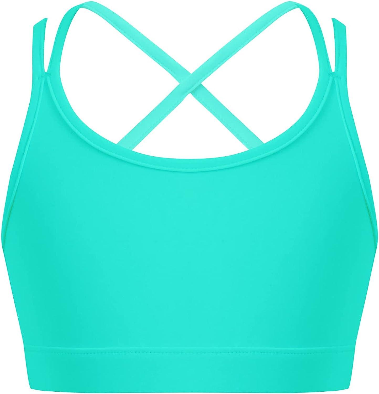 Hansber Kids Girls Basic Crisscross Crop Top Tank Top Running Yoga Sport Bras Underwear Performance Dance Tops