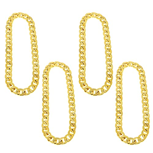 NUOBESTY 4pcs Golden Punk Chains Decorative Male Jewelry Unique Hip- hop Style Jewelry