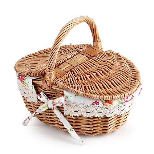 Cesta de picnic de mimbre, cesta de fruta de doble tapa ovalada Cesta de almacenamiento de picnic de lino de mimbre floral Caja de caja Caja de tela Organizador de juguetes para uso de camping de vaca