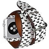Compatible con Relojes Apple Watch de 42 mm y 44 mm, Correa de Piel con adaptadores de Acero Inoxidable (Corte Escocesa Terrier)