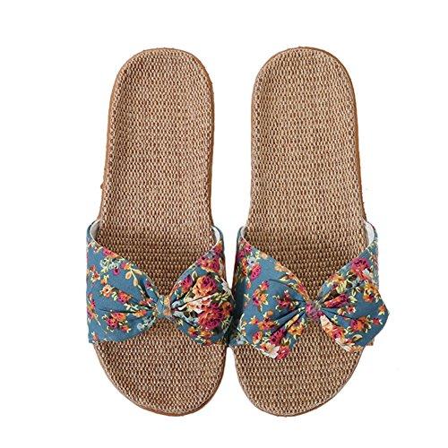 Pantuflas mujer sandalias lino de playa antideslizantes chanclas para decoración de nudos mariposas zapatos transpirables Slippers cuarto de baño piscina