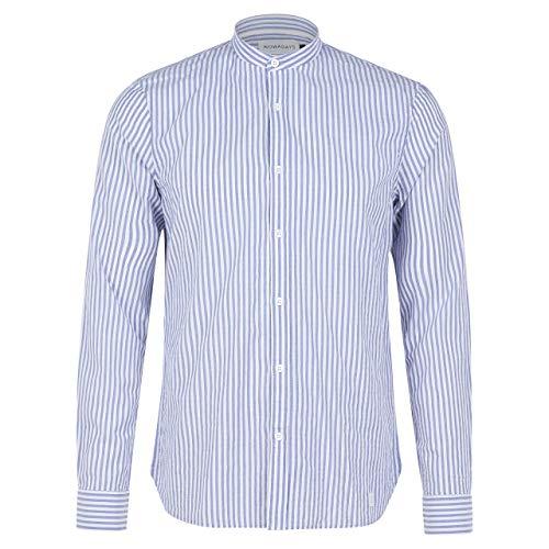 Nowadays Hemd mit Rundhalsausschnitt in Streifen-Optik blau (666 deep Ultramarine) XL