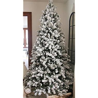 KING OF CHRISTMAS 7.5 Foot King Flock Christmas Tree Unlit, 52  Wide