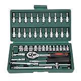 Hot Professional 46pcs Spanner Socket Set 1/4 pulgadas Destornillador Juego de llaves de trinquete Kit de herramientas de reparación de automóviles Combinación de herramientas de mano Set