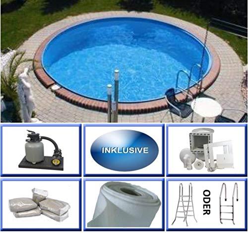 Summer Fun Stahlwandbecken Set Java Exklusiv rund ø 3,00m x 1,20m Folie 0,6mm Super Komplettset Pool Rundpool / 300 x 120 cm Stahlwandpool