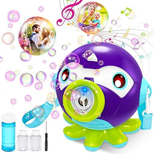 VATOS Máquina de Burbujas para Niños, Maquina Pompas Jabon con Música y Luz, Soplador de Burbujas Automático 1000/Min, Juguete de Baño Pomperos para Niños 2 3 4 5 6 Años Regalos Navidad Cumple