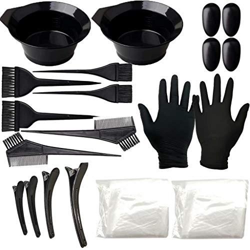 Juego de 7 piezas de tinte para el cabello, utensilios para teñir el cabello y cuenco para mezclar blanqueador, peine para colorear de doble cara y herramientas de peinado, kit duradero, negro, traje