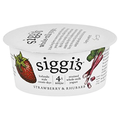 Siggis 4% Strained Yogurt, Strawberry and Rhubarb, 4.4 Ounce (Pack of 12)