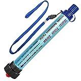 DeFe Filtre Eau Personnel 2000L Système de Filtration d'Eau Élimine 99,9% des Bactéries Filtre à 0,01 Microns Paille Eau Potable pour Randonnée Voyage Backpacking Camping Survie (Bleu)