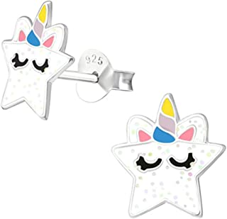 Cute Star Unicorn Earrings Stering Silver (E37871)