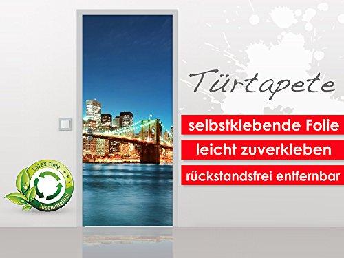 XXL-Tapeten Porte Papier Peint Brooklyn Bridge au Format 90 x 210 cm – Film Premium Autocollant – Facile à Coller sans Bulles de Trend Murs