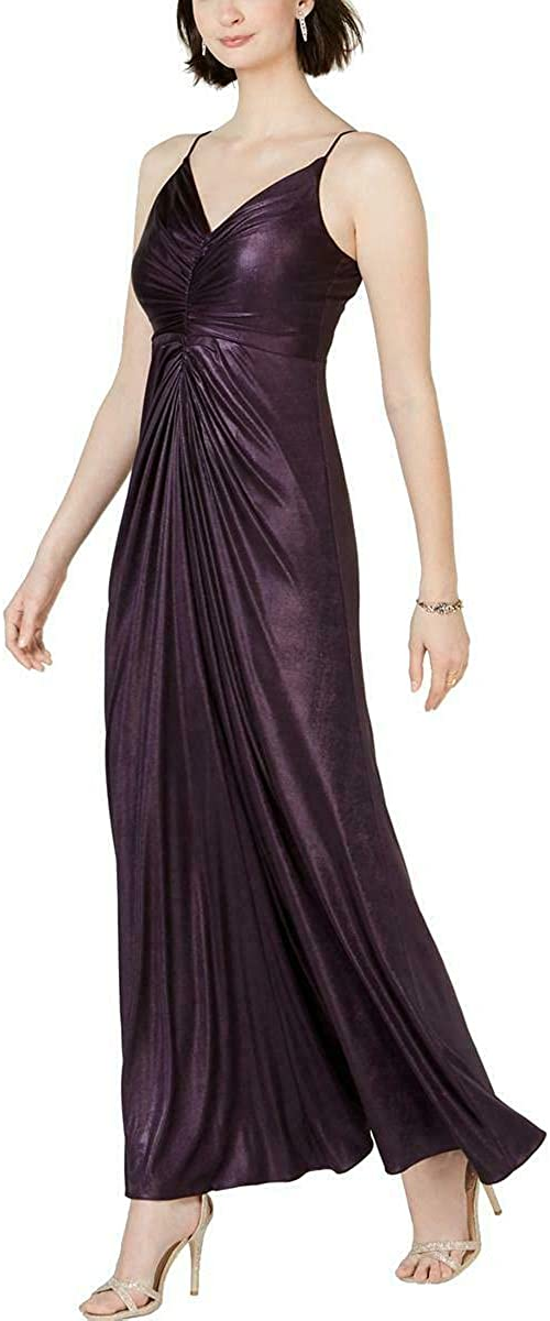ADRIANNA PAPELL Women's Allover Metallic Knotted Gown Dress