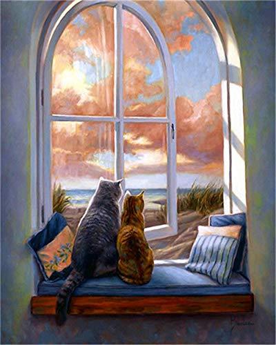 YEESAM ART DIY Ölgemälde Malen nach Zahlen Erwachsene Kinder, Liebe Katzen Rosa Wolken Himmel Zahlenmalerei ab 5 Öl Wandkunst (Rosa, ohne Rahmen)