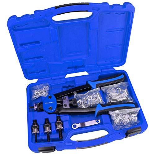 Haskyy® - Remachadora de tuercas Profi Heavy Duty, tijeras alicates remachadores para remaches ciegos, incluye 80tuercas remache, 20 por cada uno M5M6M8M10.