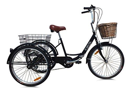 Jorvik holländisches Stadt-Dreirad für Erwachsene, zusammenfaltbar, 61cm, damen, Black Dutch