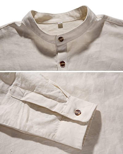 NITAGUT Men Henley Neck Long Sleeve Daily Look Linen Shirts (US L/Chest 42-45, 31 Short-Grey)