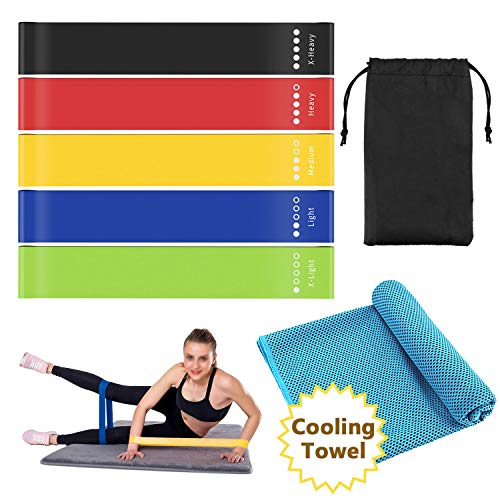 PEMOTech Exercise Bands Set,Resistance Loop Bands Fitness Bands with Sports Cooling Towel, Workout Guide,Carrying Bag,The Best Household Elastic Bands for Pilates and Strength Training at Home Gym