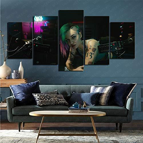 mmkow leinwanddruckeVideospiel Cyberpunk 2077 leinwanddruck wall5 Teile Kunst malerei das Handwerk für home100x50cmFrameless
