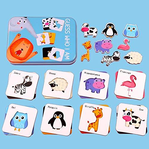 WUJINJ Geschikt for kinderen 1-6 jaar oud puzzel puzzel Toys Iron Box Puzzle dier Verkeer fruit en groente Houten Chunky Puzzle (8 stuks), Grote Gift for meisjes en jongens -je raadt Wie ik ben