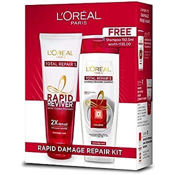 L'Oreal Paris Total Repair 5 Rapid Reviver Conditioner, 175ml with Total Repair 5 Shampoo, 175ml Free, 372 g (Pack of 2)