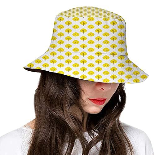 Autumn Yellow Tone Fall Leaves Seasonal Continuous Doodle Pattern Simplicity Theme Image Couple Hats Bucket Hats Women Men Fashion Floppy Outdoor Sun UV Cap Packable Fisherman Hat