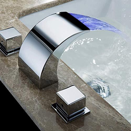 PFTHDE Grifo de Temperatura controlada, Grifo de Agua para baño, Grifo de Cascada, Grifos de baño, Grifo LED, Grifo Mezclador para Lavabo de guardarropa, Grifo de baño Moderno