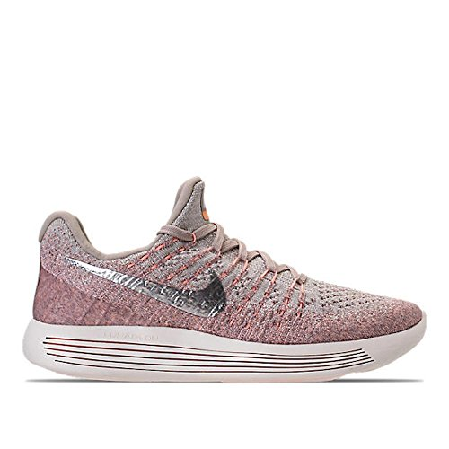 Nike Women's Lunarepic Low Flyknit 2 Running Shoe (6.5 B(M) US, Pale Grey/Metallic Silver/Sunset Glow/Argent Metallique)