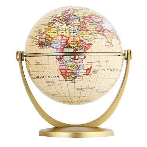 FGKLU 10cm Mini Antiguo Globo Terraqueo, 720° Girable Bola Mundo, Soporte plástico, ABS Base, Usado para Modernos decoración hogar con educación Regalo