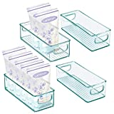 mDesign Baby Food Kitchen Refrigerator Cabinet or Pantry Storage Organizer Bin with Handles - for Breast Milk, Pouches, Jars, Bottles, Formula, Juice Boxes - BPA Free, 10' x 4' x 3', 4 Pack - Sea Blue