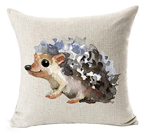 Watercolor Hedgehog Cotton Linen Throw Pillow Case 18 X 18 Inches